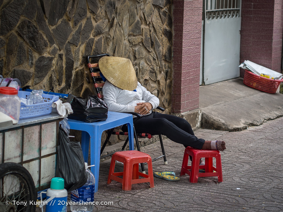 Vietnamese woman napping