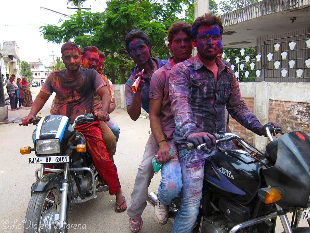 I took this photo of bikers that I was passing by on the road during the Holi celebration in Jaipur, India.