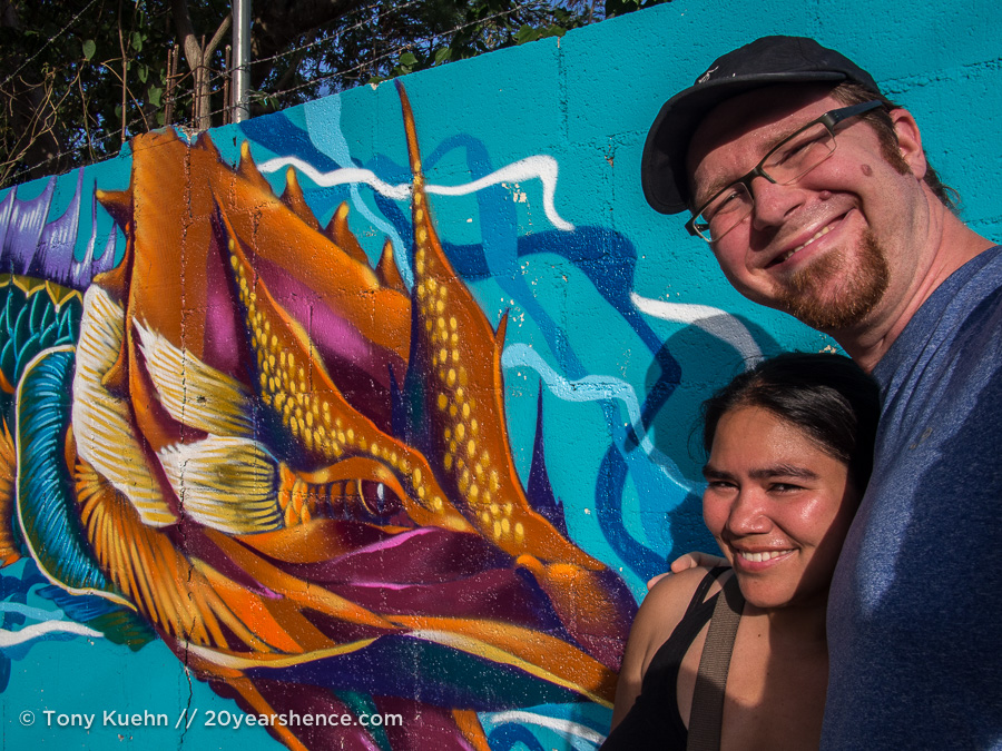 Steph and Tony in front of Play del Carmen street art